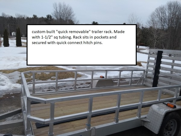 Quick remove trailer rack